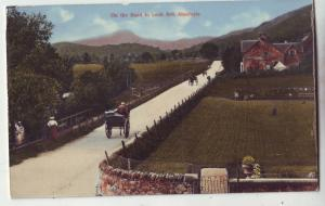 P896 old card view horses & carts, people on the road loc ard aberfoyle scotland