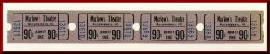 Four .90 Cents Marlow's Movie Theatre Tickets, Murphysboro, Illinois/IL, 1950's?