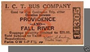Vintage ICT Bus Company Ticket, Providence, RI to Fall Ri...