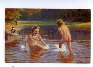 177561 Nude Girls in River JACK RUSSELL TERRIER by RUMPEL old