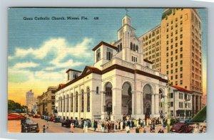 Miami FL-Florida, Gesu Catholic Church, Bell Tower, Cross, Cars, Linen Postcard