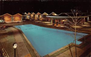 Grand Rapids Michigan~Holiday Inn (South) Swimming Pool @ Night~1960s Postcard