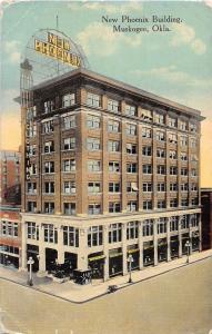 Oklahoma Ok Postcard 1916 MUSKOGEE New Phoenix Building Sign Bicycle