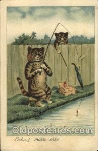 Artist Signed Louis Wain Cat, Cats Postcard Postcards Fishing Made Easy Artis...