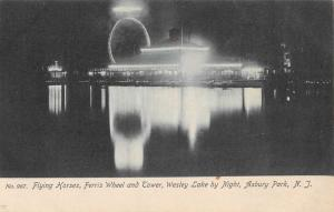 Asbury Park New Jersey Wesley Lake At Night Ferris Wheel Antique Postcard K91023
