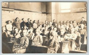 RPPC~Crowded Classroom of 40+~Most Students @ Desks~Others Along Blackboard~1910