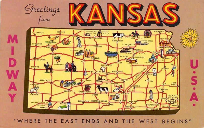State Map Of Kansas.Kansas State Map Postcard Colby To Chepoka Hiawatha Meade Cow Pig