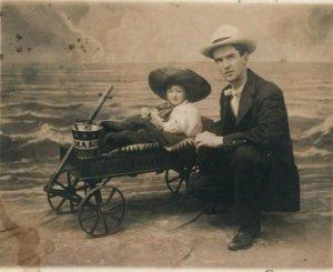 1908 Child Wagon Studio Portrait Long Beach California CA RPPC Photo Postcard