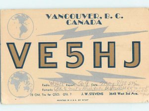 1930s QSL RADIO CARD Vancouver British Columbia BC AH3275