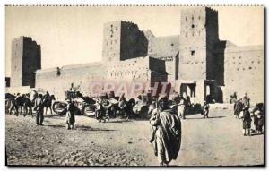Postcard Old Army Tank Battle Tank Morocco before a Ksar
