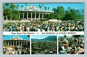Pasadena CA, Rose Bowl Flea Market, Chrome California Postcard