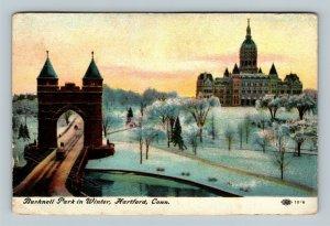 Hartford CT, Bushnell Park In Winter, Vintage Connecticut c1914 Postcard