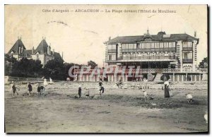 Old Postcard Cote d'Argent Arcachon The Beach in front of the hotel Moulleu
