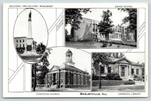 Shelbyville IL~Grade School~Civil War Soldiers Monument~Carnegie Library~1931 BW