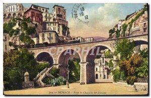 Postcard Old Bridge and Monaco Chapelle Ste Devote
