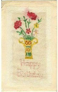 pc7017 postcard Happy Birthday Hand Embroidered MOBSC
