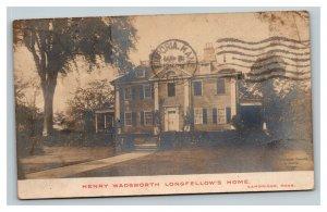 Vintage 1907 RPPC Postcard Henry Wadsworth Longfellow Home Cambridge MA