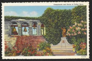 Campanario & Statue of Father Serra San Juan Capistrano California Unused c1939