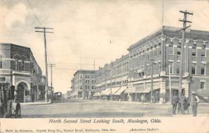 Muskogee Oklahoma North Second Street Scene Antique Postcard K89121