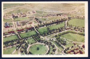 Fort Francis Warren birdseye view Cheyenne WY unused c1930's