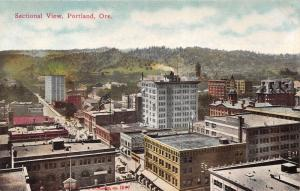 Portland Oregon~Sectional View Overlooking Rooftops~Coca Cola~American Flag~1910