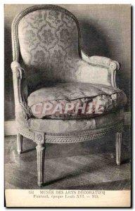 Postcard Old Paris Musee Des Arts Decoratifs Armchair Louis XVI