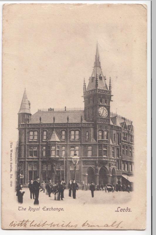 Yorkshire; The Royal Exchange, Leeds PPC, UB, By Wrench, 1904 PMK