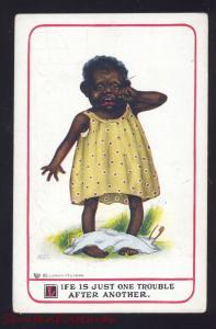 ARTIST SIGNED M.D.S. BLACK AMERICANA CUTE NEGRO GIRL PANTS VINTAGE POSTCARD