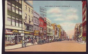 P1457 1940,s used postcard many old cars main st. at market paterson new jersey