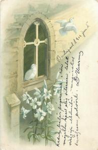 Vintage 1900s chromo litho white doves floral fantasy AFL signed