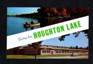 MI Greetings From HOUGHTON LAKE MICHIGAN POSTCARD PC