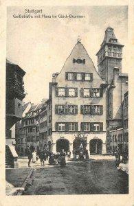 Stuttgart, Germany, GeibStraße mit Hans im Glück Brunnen c1910s Vintage Postcard