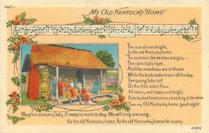 My Old Kentucky Home~Music Staff~Notes~Lyrics~Black Family~Cabin~1940s Postcard