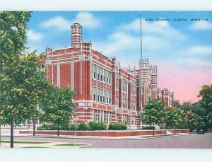 Unused Linen HIGH SCHOOL Austin Minnesota MN L9827@