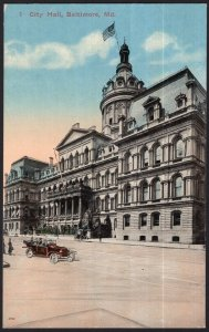 Maryland ~ BALTIMORE City Hall - Vintage DB with old vehicle Car 1907-1915