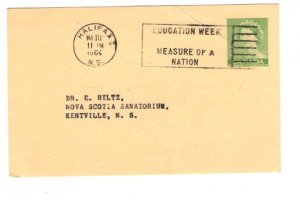 Postal Stationery Postcard Elizabeth II 1964 Education Week, Halifax Nova Scotia