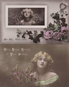 Be My Valentine 2x Glamour incl Real Photo Love WW1 Postcard s