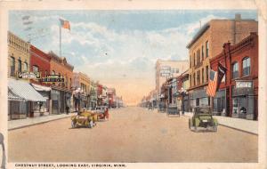 VIRGINIA MINNESOTA CHESTNUT STREET LOOKING EAST POSTCARD c1920 SIGNS AND CARS