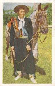 MONTEVIDEO, Uruguay, PU-1959; Man and Horse during Fiesta