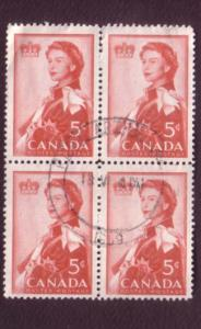 Canada, Used Block of Four, Elizabeth II Commemerative, 5 Cent, Scott #386, N...