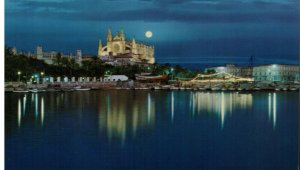 Postcard - Palma - Vista Nocturna at Night - Mallorca Espana Spain