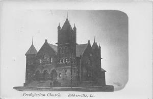 Estherville Iowa~Presbyterian Church~Men on Steps~Nice Stained Glass~1905 RPPC