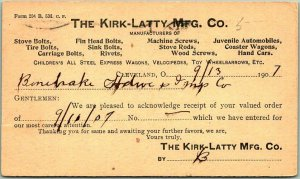 1907 Cleveland, Ohio Postcard THE KIRK-LATTY MFG CO. Bolts & Screws Receipt Card