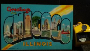 STD Vintage Large Letter Postcard Greetings From Chicago Illinois Unposted