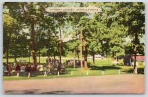 Angola Indiana~Lake James Christian Assembly~Bible Studies Outdoors~1950 Linen