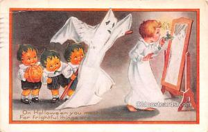 Halloween Post Card Old Vintage Antique Whitney Made Publishing 1920