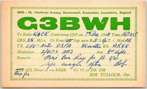 1948 ROSSENDALE, Lancashire England UK Postcard Radio QSL Card Bob Tulloch