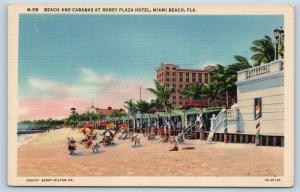 Postcard FL Miami Beach Beach Cabanas Roney Plaza Hotel Vintage Linen B07