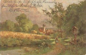 Village scene. Lady in the road· Old vintage German postcard