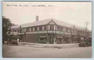 Postcard IL Lombard Deicke Building Recreation Parlor Drug Store RPPC Huckins W1
